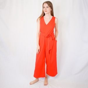 J. Crew Wrap Tie Jumpsuit Stretch Poplin Red 0879